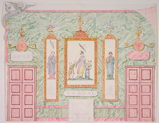 Elevation of a wall, with a mantelpiece in the center. Over the mantelpiece, and flanking it, are three painted panels with Chinese figures, set in ornamental frames against a marbleized background. Doorways at both sides with decorative devices above them. Narrow columns at corners.  Original album associated with this collection still exists: see 1948-40-1 accessory.