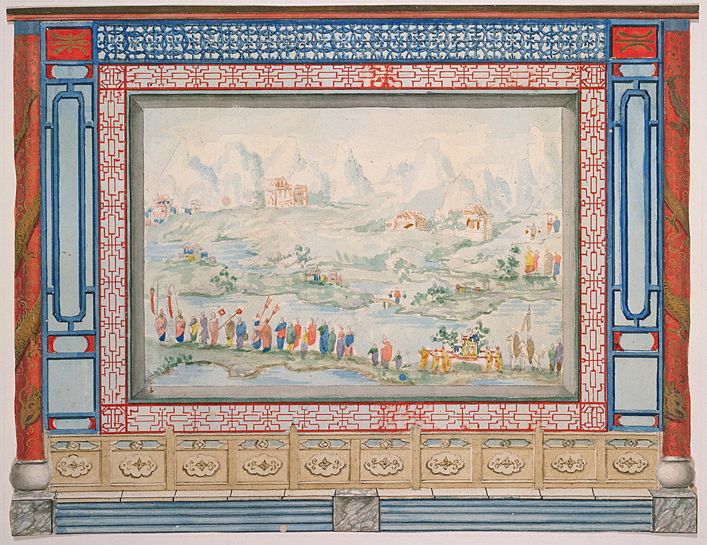 Design for a wall panel, the central area occupied by a large painting of a Chinese landscape with processional figures in the foreground. The painting is enclosed in a border of trellis-work, flanked by narrow vertical panels and columns, entwined by serpents.  Original album associated with this collection still exists: see 1948-40-1 accessory.