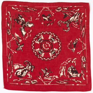 Square bandana with a red ground and design in black and white. In the center, a clock with the words Good Hunting, surrounded by a compass ring indicating the four directions, with the word Ideal flanked by rampant lions at each compass point. In the four corners are a bear, a deer, a moose and a mountain goat. On each side are a rabbit, a duck, a pheasant and a quail. In between are rifles, bows and arrows, tents, skiffs, and campfires, forming a border.