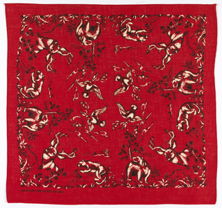 Square bandana with a red ground and design in black and white. A deer head in each corner, a bear and a cougar on each side, and ducks in flight in the center field.