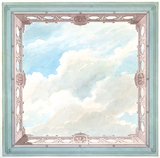 Design for the ceiling of a square compartment, consisting of the painted representation of a cloud-filled sky surrounded by a balustrade seen in perspective. A hexagonal motif used in the design of the balustrade.