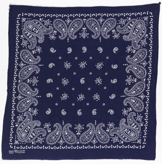 Square bandana with a deep blue ground and design in white. Field of small paisley botehs, flowers and dots, surrounded by a deep border of paired paisley botehs with decorative infillings.