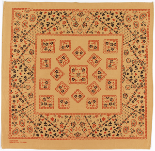 Square bandanas: a has a tan ground with design in black and red; b has a maroon ground with design in black and white. Field with scattered squares with flower fillings. Deep border of various patterns arranged as patchwork.