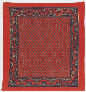 Square handkerchief with a red ground and design in black and off-white. Field filled with off-set ovals with stars inside. Border of semicircular designs with paisely-like forms.