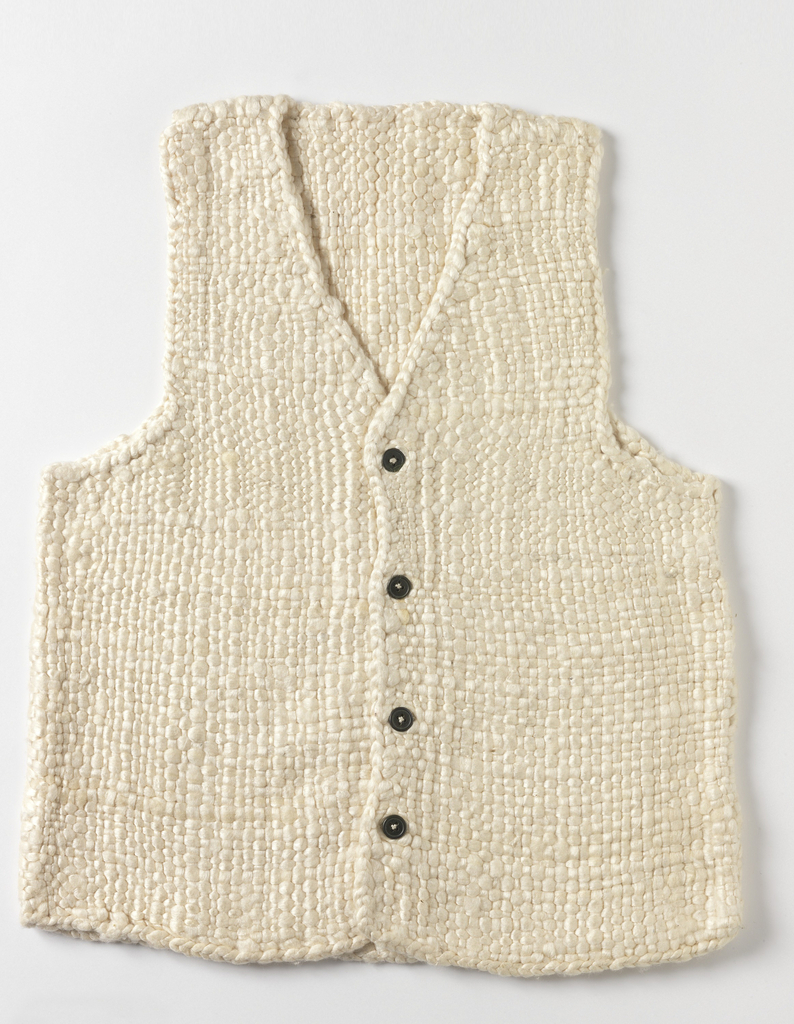 Thermal vest woven of undyed, untwisted silk floss. With button front closure.