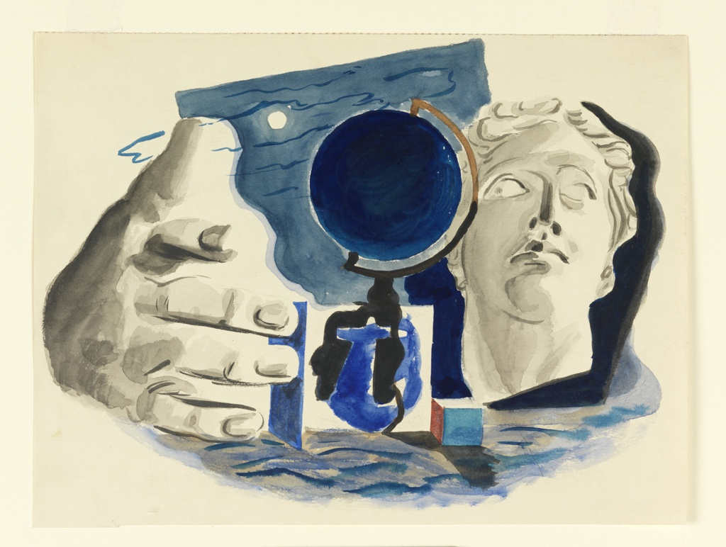 Semi-abstract composition showing at the left, a hand; in the center, a globe of the earth on a stand against a background showing the moon; at the right, a classical bust of Venus.