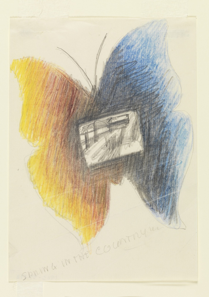 """Study for a """"Spring in the Country"""" poster for London Transport. At center, a butterfly with one blue and black, and one yellow and orange wing, with a rectangular sketch of a landscape superimposed onto the center of the body."""