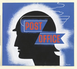 A silhouette in profile facing left of the mythological god Mercury in his winged hat. A white frame surrounds the head, setting it off from a blue background. On two blue ribbon-shaped rectangles superimposed over head, text in red, center: POST / OFFICE.