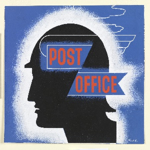 In black, a silhouette in profile facing left of the mythological god Mercury in his winged hat. A white frame surrounds the head, setting it off from a blue background. On two blue ribbon-shaped rectangles superimposed over head, text in red, center: POST / OFFICE.