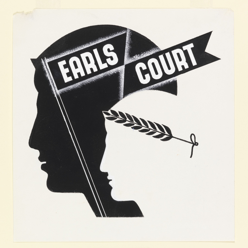 Likely, a study for a poster advertising Earls Court for the London Passenger Transport Board. Two heads seen in left profile, one black, on which is superimposed a banner bearing the title, in white: EARLS / COURT; the other, white, wearing a black laurel crown.