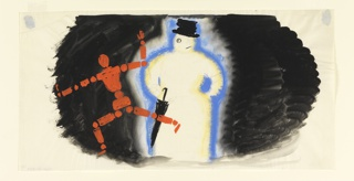 A running figure composed of red dots and dashes, left.  In the center, a snowman with a battered top hat and umbrella. Figures set against a black ground.