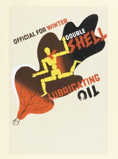"""Study for """"Official for Winter, Double Shell Lubricating Oil"""" poster. Running lay figure (articulated, wooden mannequin) in yellow, is superimposed on a red oak leaf, shaded to black. Text in black, white and red across the image: OFFICIAL FOR WINTER / DOUBLE / SHELL / LUBRICATING / OIL."""