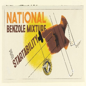 "Design for ""National Benzole Mixture"" advertisement. A brown, gloved hand is seen pushing a button with the thumb. Superimposed, the black outline of a steering wheel abstractly rendered. Centered behind is a yellow spherical shape. At upper left in sans serif orange type: NATIONAL; directly below in brown: BENZOLE MIXTURE / FOR (outlined in brown and left un-filled) / STARTABILITY. At bottom center, in black and yellow: [Trade symbol of Nation Benzole Mixture]"