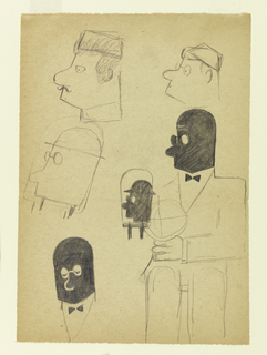 Sketches of a man with a round head, seen in left profile. Five head studies and one of the figure shown seated.