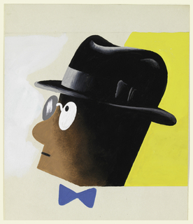 "Study of a head for a ""Hunger on Wheels"" advertisement. Head of a figure on white and yellow ground, seen in left profile, wearing pince-nez, a black fedora and a blue bowtie."