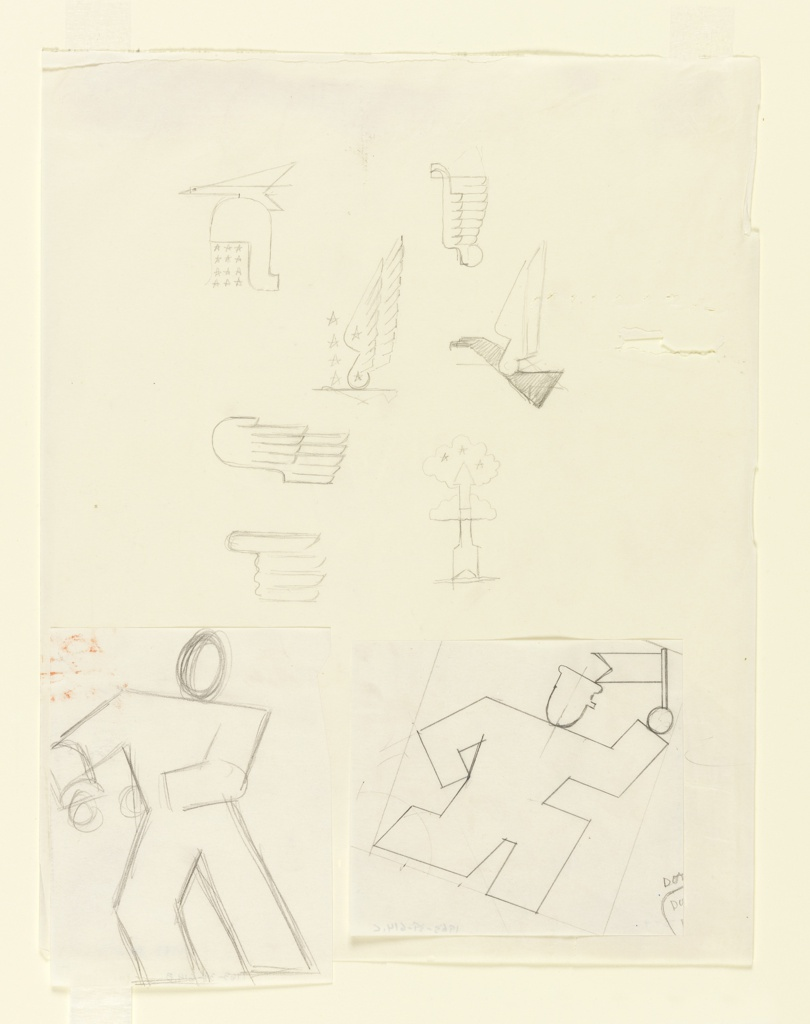 """Study of a figure for the """"August Bank Holiday"""" poster for the London Transport and various other studies for other campaigns. At bottom right, a running figure, shown abstractly in outline, wearing a cap with a small visor, and carrying a small pennant. To the left, a similarly abstracted figure in outline, leaning to the left. Above, sketches of classical helmet, a bird, wings and a rocket enshrouded in clouds."""