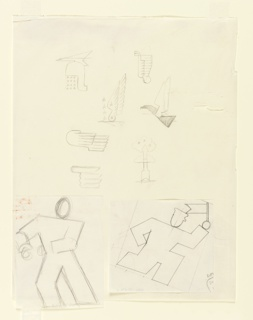 "Study of a figure for the ""August Bank Holiday"" poster for the London Transport and various other studies for other campaigns. At bottom right, a running figure, shown abstractly in outline, wearing a cap with a small visor, and carrying a small pennant. To the left, a similarly abstracted figure in outline, leaning to the left. Above, sketches of classical helmet, a bird, wings and a rocket enshrouded in clouds."