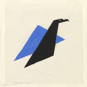 Study for an American Airlines poster design. At center, stylized eagle, shown in profile, composed from flat, geometric planes of blue and navy.