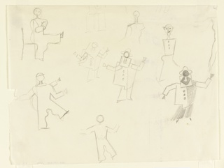 "Studies for ""The Wizard from the Wall"" series. Seven full figures and three partial figures shown abstractly in various poses, dressed as harlequin."