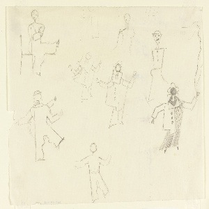 """Studies for """"The Wizard from the Wall"""" series. Seven full figures and three partial figures shown abstractly in various poses, dressed as harlequin."""