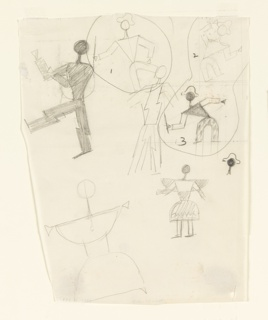 "Studies of harlequin figures, likely for the ""Wizard from the Wall"" series. Seven figures shown abstractly in various poses, some dressed as harlequin. Figures at right, labeled with the numbers 1, 2 and 3."