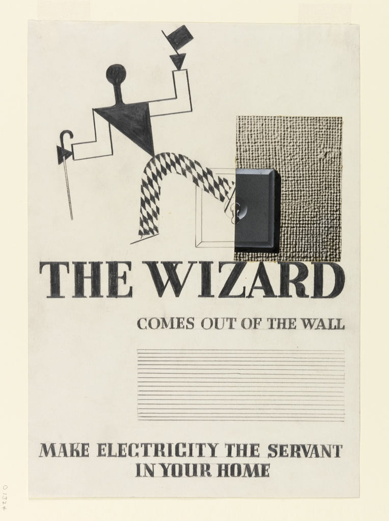 "Study for an advertisement in ""The Wizard from the Wall"" series. Walking, abstract figure, dressed as a harlequin, with a cane in one hand and tipping a top hat with the other. At right, a light switch and textured wall (photograph of burlap) beside it. Below: THE WIZARD / COMES OUT OF THE WALL / [lines for copy blocked out] / MAKE ELECTRICITY THE SERVANT / IN YOUR HOME."