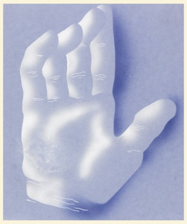Poster design of an open hand, with fingers slightly cupped, shown vertically in semi abstraction.