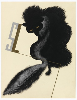 Design for an advertisement, likely for the furrier S. London Ltd. A black fox is seen from behind, turning its head toward the viewer. A silver streak runs down the fox's body and tail. It has pupil-less gold eyes. Upper left, in gray and gold monogram: SL.
