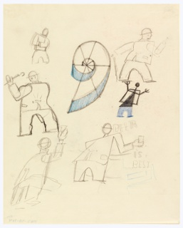 Sheet of sketches showing five walking men wearing bowler hats, in semi abstraction. Two hold aloft drinking glasses. A spiral in center. Lower right, in light graphite: BEER / IS / REST.
