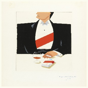 This advertisement depicts a man at a table wearing a tuxedo with a red sash across his chest. The top of his head is cut off, he holds a cigarette in one hand; a brandy snifter and a pack of cigarettes sit before him on the table.