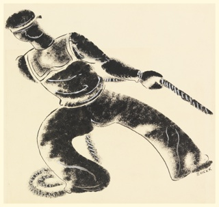 "Study for a motif for a ""For Pull Use Summer Shell"" advertisement. A figure dressed in a sailor's uniform, seen from the back, hauling a rope toward the left and leaning in the same direction."