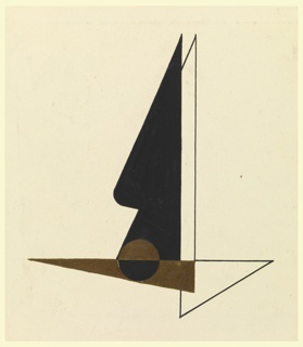 Likely a study for an Imperial Airways (now, British Airways) advertisement or logo. A flying bird shown abstractly; its body composed of superimposed triangles. The body and front, top wing of the bird is shaded in brown and black respectively, with a circle at the center in the opposite colorway, split horizontally down the middle. The top, back wing and the tail of the bird are left unshaded, and rendered in black outline.