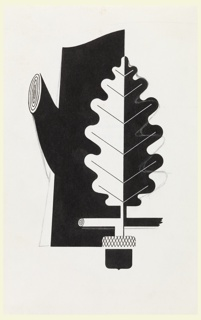 An advertisement poster depicting a tree trunk with truncated limbs and an oak leaf; abstract acorn below; half black and half white.