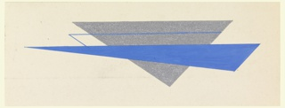 An elongated, irregular royal blue triangle is superimposed and bisects a larger, almost equilateral, silver triangle with tip pointing down.  A blue horizontal line passes through the silver triangle above the blue triangle (parallel to the lower edge of sheet) and extends into the cream ground before terminating at an acute angle into the blue triangle.
