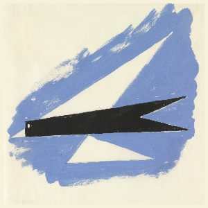 """Study for """"Quickest Way by Air Mail"""" poster. An angular, abstract rendering of a bird in flight (recalling a paper airplane) is surrounded by blue sky. The bird's body is solid black with white circular eye and white triangular beak. The upper wing is formed by an elongated white triangle; the lower wing formed by a smaller elongated white triangle."""