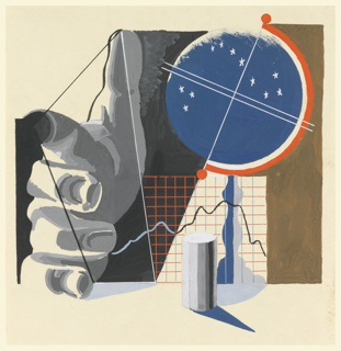Study of a composition, likely for a London County Council advertisement. Study depicts a celestial globe on a stand before a grid with a hand seen foreshortened pointing at the observer at the left; segment of a column in the foreground.