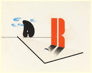 Likely a study for an invitation or pamphlet for the Reimann School and Studios in London. In the foreground, the letter R, in red, rests on the edge of a drafting triangle made of graph paper. In the background, a black palette on the horizon amongst blue clouds.