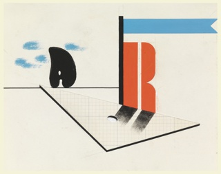Likely a study for an invitation or pamphlet for the Reimann School and Studios in London. In the foreground, the letter R, in red, rests on the edge of a drafting triangle depicted to resemble graph paper. Next to the letter, a blue pendant flag flying from a black pole. In the background, a black palette on the horizon amongst blue clouds.