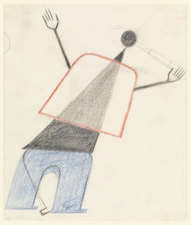 Abstracted drawing of a walking figure in red, black, and blue. The figure bends towards the right, with pinhead and stick-like arms extended, holding a telescope to an eye which composes the whole head.