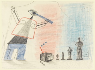 Study for an advertisement, likely for the Gas Light and Coke Company. An abstracted figure in red, black and blue holds a telescope to its eye, peering at a series of statue-like, smaller figures on a red and blue ground The statue-like figures are arranged in increasing size from left to right. Between the line of statue-like figures and the telescope-holding figure, an open safe.