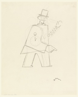 Standing figure, with a watch on his side, wearing a top hat. He holds a telescope with a mechanical arm shaped like a spring.