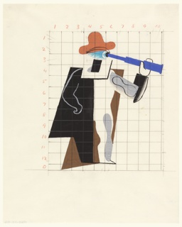 At center, an abstract figure wears a red hat and black-brown cape, holding a blue telescope to its eye. Shown on a grid in graphite with grid numbering in red.