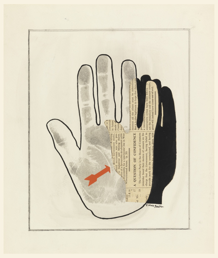 """Study of a motif for a poster advertising the Cambridge Exhibition, """"Fascism & War,"""" to be shown in Hull, England. At center, a collaged composition comprised of two overlapping hands. First hand, rendered in outline with blotter print of a hand at center, and partially overlapped by cut out newsprint and black paint in the shape of another hand. A red arrow points to the newsprint."""