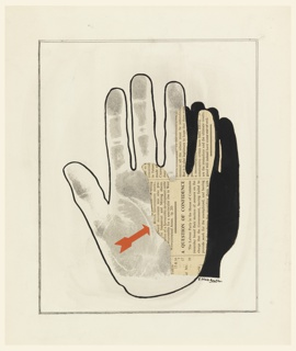 Poster design of hand in outline with blotter print of a hand, and partially overlapped by cut out newsprint and black paint in the shape of another hand. A red arrow points to the newsprint.