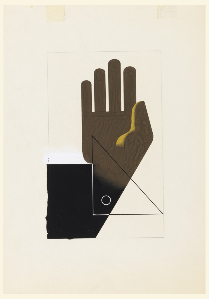 Design for a motif with a brown hand with fingers pointing upwards and facing palm forward. Superimposed over the wrist of the hand is a drafting triangle, rendered in outline. The wrist and part of the arm extending from the hand is shaded in black. Surrounding the image, faint framing lines in graphite.