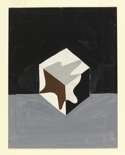 Poster design of a black and white cube with a splatter-like leaf shape in black, white and gray on a black and gray background.