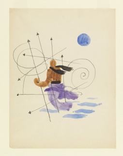 Study for an illustration featuring an abstract constellation and allegorical figure. At center, a figure wearing a black scarf and purple pants who seems to be flying through and over several arrows that are in spirals and straight lines (a constellation). At upper right, a blue, round moon.