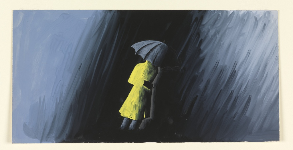 """Study of a motif for the """"Drainy Weather"""" advertisement, for Conoco's Nth Motor Oil. At center, a figure in a yellow raincoat holding a gray-black umbrella that covers their face; gray and black sheets of rain surround the figure."""