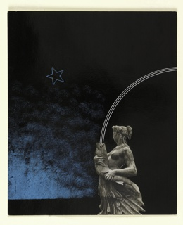 Photomontage of a fountain figure, a woman holding a fish, three white lines forming an arc spew out of the fish's mouth, a blue star in outline, all against a black and blue background.