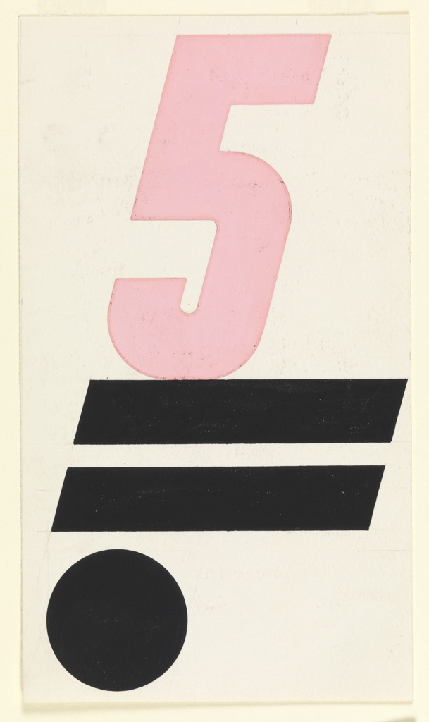 """Likely a study for the book cover of """"5 on Revolutionary Art,"""" published by Wishart Limited. At center top, a large number 5 in pink, resting on top of two parallel, horizontal black lines with a black circle below."""